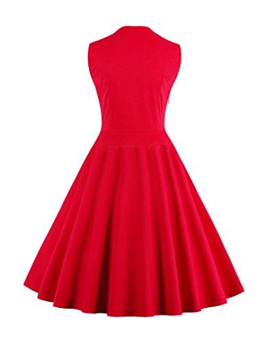 Frauen 1940er Jahre Vintage Vertrag Farbe Patchwork Swing Partykleid Red