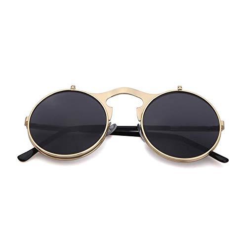WHABJMetall Sonnenbrillen Runde RahmenFlipSonnenbrille Männliche & WeiblicheBrillen von