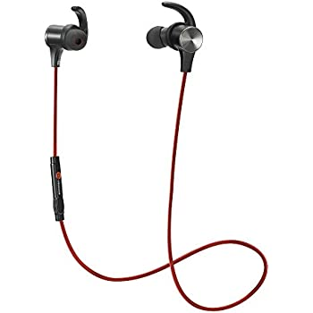 Bluetooth Earphones, TaoTronics Bluetooth 4.1 Headphones Stereo Magnetic Earbuds, Secure Fit for Sport, Gym with Built-in Mic-Red
