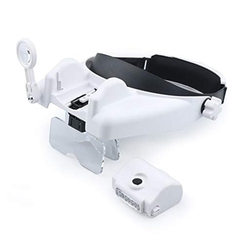 Lupenbrille mit licht 1X 1,5X 2X 2,5X 3,5X Kopf Lupe mit einstellbarer Position LED-Licht und 8X drehbare Linse für die Reparatur Carving Stickerei -