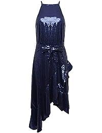 da5baf950c30 Forever Unique WF5230 Women's Sequin Halter Neck Midi Dress - Navy