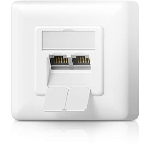 deleyCON 1x CAT6a Universal Netzwerkdose - 2X RJ45 Port - Geschirmt - Aufputz oder Unterputz - 10 Gigabit Ethernet Netzwerk - EIA/TIA 568A&B - Weiß (Frontplatte 4 Steckdose)
