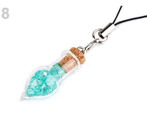 1fläschchen 8 Atlantis Anhänger Gläschen Mit Kristallen, Schlüssel-, Koffer- Und Taschenanhänger, Verzierung Handtaschen, Handys, Modeschmuck -