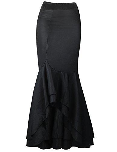 Burvogue Mujer Gótico Steampunker Disfraz Vintage Capas Falda Gasa - algodón, Color Negro 7, 20% poliéster 100% Brand 80% algodón, Mujer, Grande