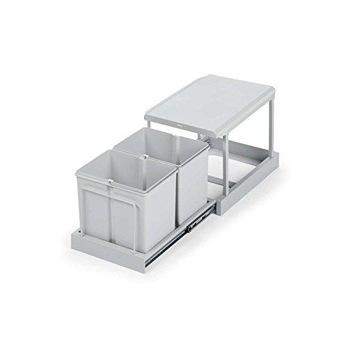 AVANTI TRENDSTORE - Clax - Abfallsammler weiß, 2x15 l mit 2-Fach Trennung für Unterschränke ab 45 cm Breite, Maße BHT 35,5x33x46 cm