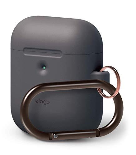 elago A2 Silikonhülle kompatibel mit Apple AirPods 2 Wireless Hülle (LED an der Frontseite sichtbar) - [Unterstützt kabelloses Laden] [Extra Protection] (mit Karabiner, Dunkelgrau)