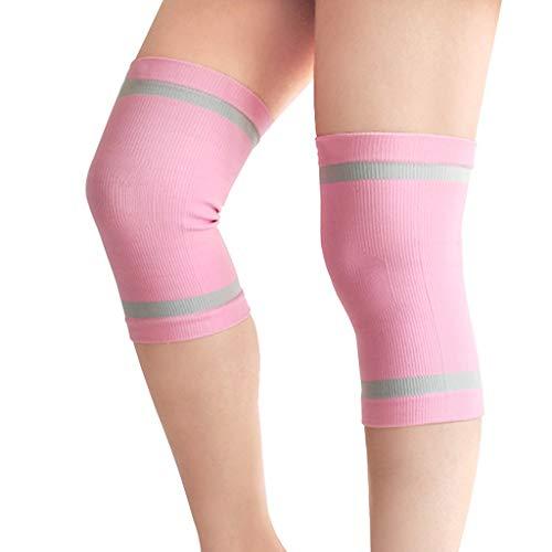 Sommer Dünnschliff Knieschützer Weiblich Ultradünn Nahtlos Atmungsaktiv rutschfest Sportklimaanlage Zimmer Warm Alt Kalt Beinschutz Gelenk Knie 2er Pack XINYALAMP (Color : Pink, Size : S)