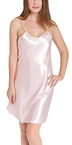 Aibrou femme Déshabillés chemise de nuit sexy en satin petite tenue nuisette Bretelles reglables Pure Douceur Robes Peignoir Clair ( Rose Clair, XXXL )
