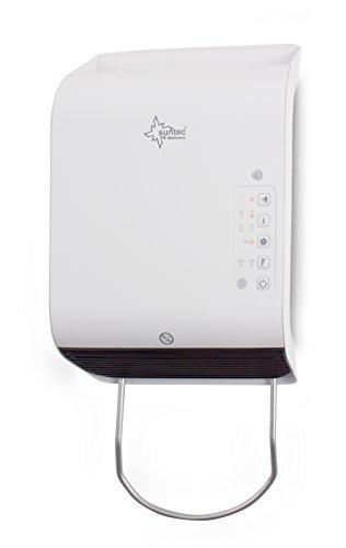 SUNTEC Badschnellheizer Heat Stream 2000 slim [Für Räume bis 60 m³ (~25 m²)*, 2 Heizstufen + Thermostat, Handtuchhalterung, Bewegungssensor, Fernbedienung, max. 2000 W]