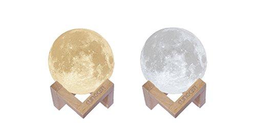 KUNGKEN Wiederaufladbare 3D-Druck Mond Lampe Touch Schalter Luna Nachtlicht Farbe und Helligkeit...