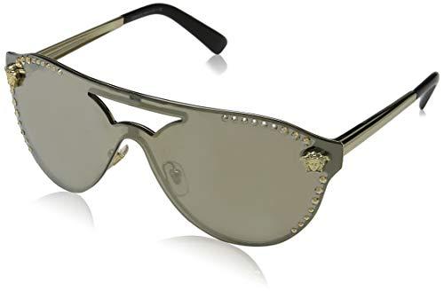 Versace Damen 0VE2161B 12525A 42 Sonnenbrille, (Pale Gold/Lightbrownmirrordarkgold)
