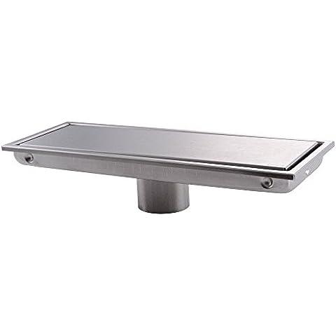 Mjj invisibile doccia lineare di scarico a pavimento con piastrelle Inserisci griglia,12 pollice lungo Luxury (Acciaio Inossidabile Rettangolare Pan)