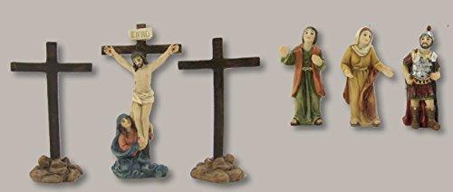 Figuras de la pasión: Crucifixión con 2 CRUCES, para aprox. 5cm figuras