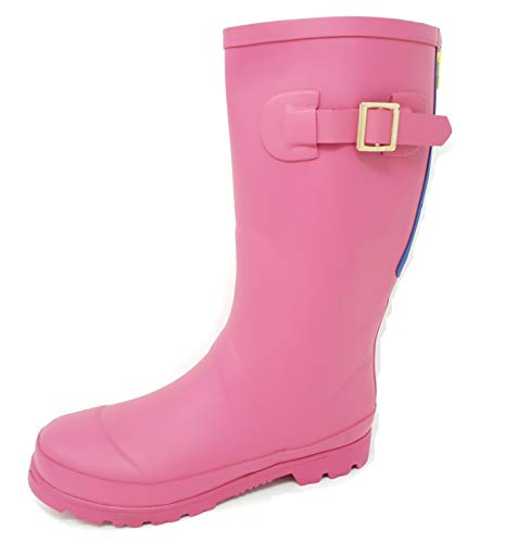 Girls Rubber Wellies/Rain Boots with Zip Detail & Buckle