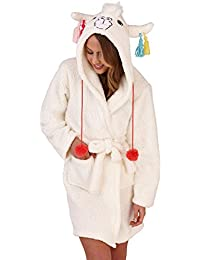 Loungeable, De forro polar para mujer muy suave Salon pijama-Albornoz, múltiple motivos