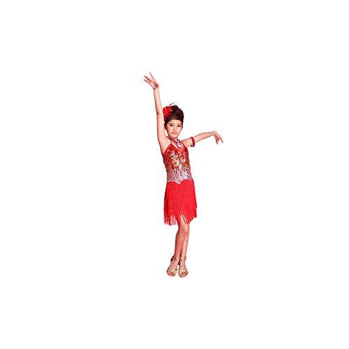 WEISY Latin Dance Kleid für Mädchen, Kinder Tango Ballsaal Salsa Dance Kostüme Ballett Trikots Kleider (Kinder Kostüm Wettbewerb)