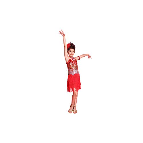 WEISY Latin Dance Kleid für Mädchen, Kinder Tango Ballsaal Salsa Dance Kostüme Ballett Trikots Kleider (Ballsaal Tanz Kostüm Tango)