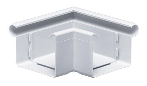 INEFA Rinnenwinkel NW 68, 90°, Weiß Wulst außen kastenförmig Kunststoff, Regenrinne, Dachrinne