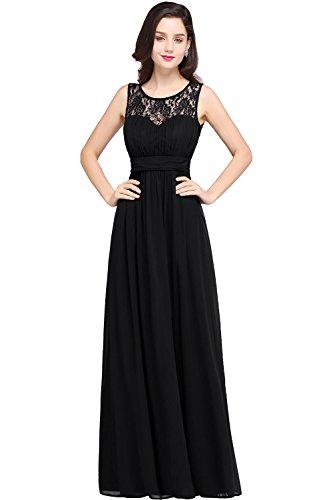 Damen Elegant Ämellos Partykleid mit feiner Spitzenstickerei lang Schwarz 34