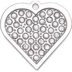 Bow Wow Meow Personnalisé Médaille pour Chien Bling avec Swarovski en forme de Coeur Argenté (Petit) | SERVICE DE GRAVURE | Médaille pour Animal Domestique Personnalisée avec Cristaux incrustés