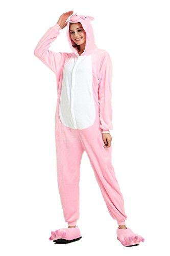 Rainbow Unicorn Unisex Erwachsene Pyjama Tier Flanell Party Cosplay Kostüme Halloween Kostüme Karneval Neuheit Overalls Jumpsuits (Schwein, S) (Schwein Kostüm Kleines Halloween)