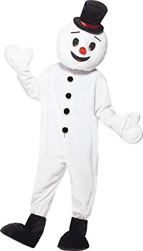 Kostüme Ideen Maskottchen (Smiffys, Herren Schneemann Maskottchen Kostüm, Bodysuit, Überschuhe und Kopfteil, One Size,)