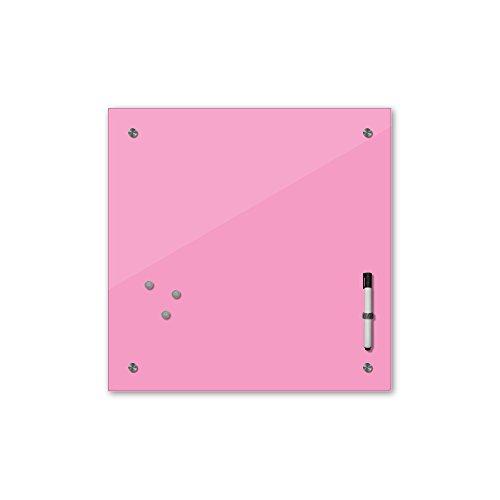 Bilderdepot24 Memoboard 40 x 40 cm, 24 Farben - rosa - Hellrosa - Glas - Glasboard - Glastafel - Magnetwand - Pinnwand - Mehrzwecktafel Farbton - Grundfarbe - einfarbige Schreibtafel