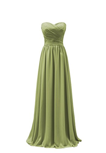 Bridal_Mall - Robe - Trapèze - Sans Manche - Femme Vert - Olive