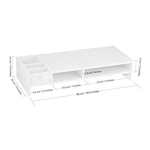 Finether Monitorständer Bildschirmständer Tischaufsatz Schreibtischaufsatz Schreibtischregalfür Monitorerhöhung Bildschirmerhöhung aus WPC weiß 48 x 20 x 10 cm - 6