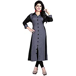 Fabdiamond Women's Georgette Kurti ( 1116-Hk,Grey,X-Large)