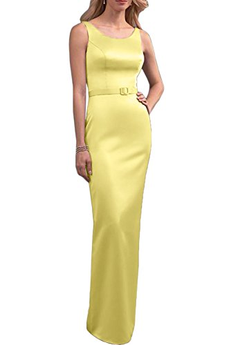 Promgirl House Damen Elegant Einfach Traeger Etui Satin Lang Abendkleider Brautmutterkleider Promkleider Daffodil