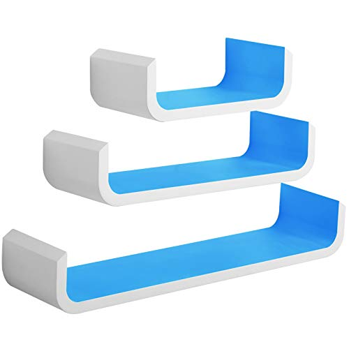 WOLTU RG9273bl Wandregal U Form Bücherregal Wandboard, 3er Hängeregal, blau