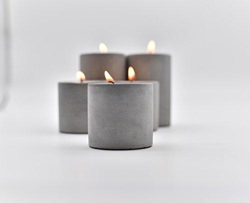 anaan High & Low Diseño Candelero Portavelas de Té Luz velas pequeñas de Concreto Decoración de mesa (Juego de 2, 1x alto y 1x bajo)