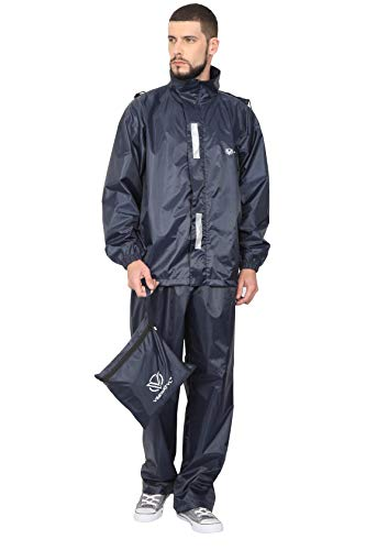 VERSATYL Unisex 100% Waterproof Rain Coat with Pant (Navy Blue, Free Size)