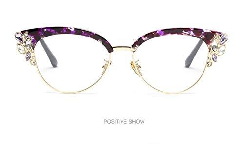 WSKPE Sonnenbrille,Die Hälfte Frame Crystal Diamond Clear Sonnenbrillen Mode Cat Eye Sonnenbrille Frauen Uv400 Lila Rahmen Klare Linse