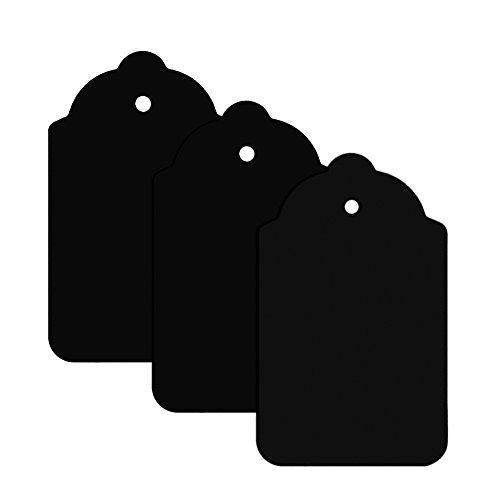 Schwarz Preisschild Etikett Karte Hang Tag 70mm x 40mm (100er Pack)