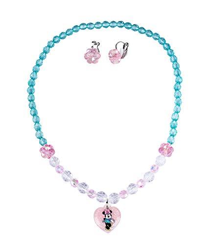 Schmuckset, Ohrklipser aus funkelnden rosa Blüten, Halskette mit Minnie-Mouse Herzanhänger (297-758) ()