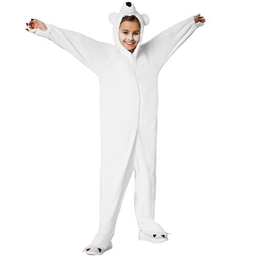 dressforfun 900322 - Kinderkostüm Eisbär, aus flauschigem Plüschstoff, Kapuze mit Nase, Augen und Ohren (152 | Nr. (Eisbär Kostüm)