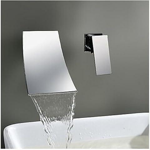 Nueva llegada TougMoo baño de Latón con acabado cromado Grifo montado en la pared de la cuenca cascada grifo mezclador LAVABO lavabo