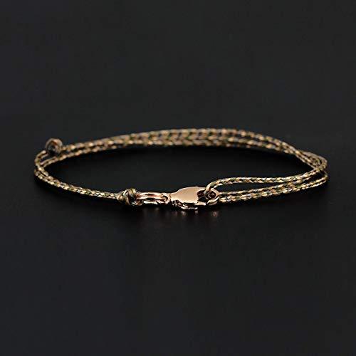 Dezentes Armband für Herren - edles Wickelarmband für Männer Minimalistisch - stufenlos verstellbar mit Karabiner-Haken Gold (Olive/Beige) -