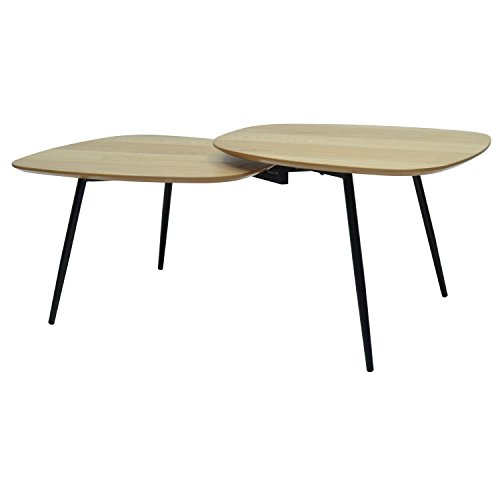 MORE DESIGN Table Basse, Métal, Noir Naturel, 120 x 63 x 45 cm