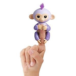 WowWee - Fingerlings Kiki, Monito Interactivo en color morado con purpurina (WowWee 3762)