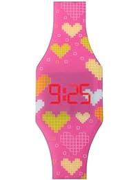 Orologio a LED digitale per ragazze, bambini e giovani, da polso, cinturino in morbido silicone, regalo trendy, con cuori, Kiddus KI10204