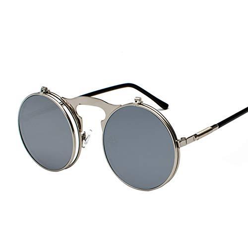 GJYANJING Sonnenbrille Vintage Flip Up Männer Sonnenbrille Frauen Retro Runde Metallrahmen Sonnenbrille Scharnier Design Gebogene Brille Beine Uv400
