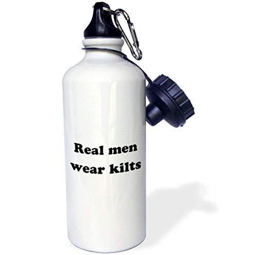 qidushop Real Men Wear Kilts Sport-Wasserflasche aus Edelstahl, Weiß, ca. 535 ml