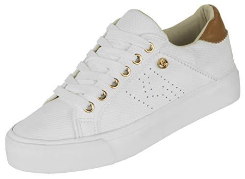 Beppi Weiße Damen Sneaker - Bequeme Mädchen Schnürhalbschuhe, Farbe: Camel, Gr. 40