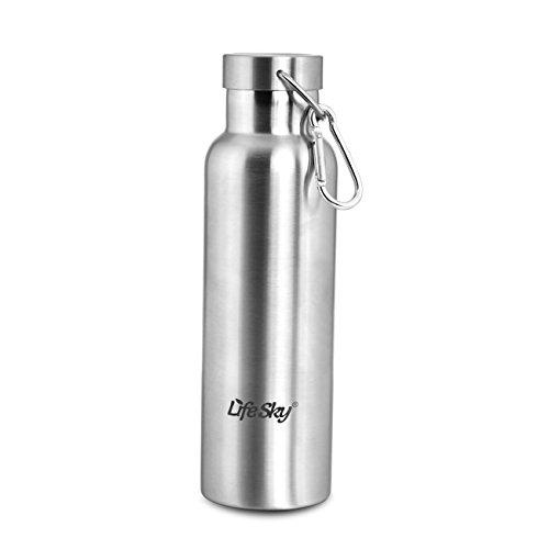 LifeSky Thermo-Kaffeebecher, Edelstahl (20 oz), BPA-frei, Arretierung verhindert Deckel Undichtigkeiten & Verschütten (Metallic-breite Schreibtisch)