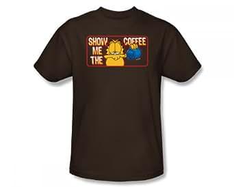 Garfield - - Show Me The Adult Fit Slim Coffee T-shirt dans le café, XX-Large, Coffee