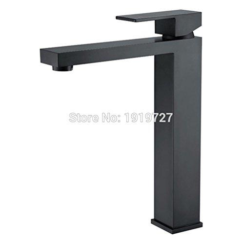 Alba Top (AllureFeng Die neue ultra-modernem Design einzigen Handgriff Alba schwarzes Quadrat Qualität aus massivem Messing Top-Waschtischmischer Seide hohe Monolith)