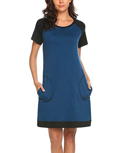Baumwoll-print-nachthemd (MAXMODA Damen Nachthemd Nachtkleid Rund-Ausschnitt Kurzarm Star Print Sleepwear Nachtwäsche Kleid Casual mit Tasche Navyblau M)